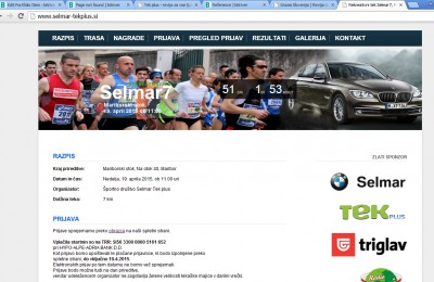 Spletna stran tekaške prireditve Selmar7